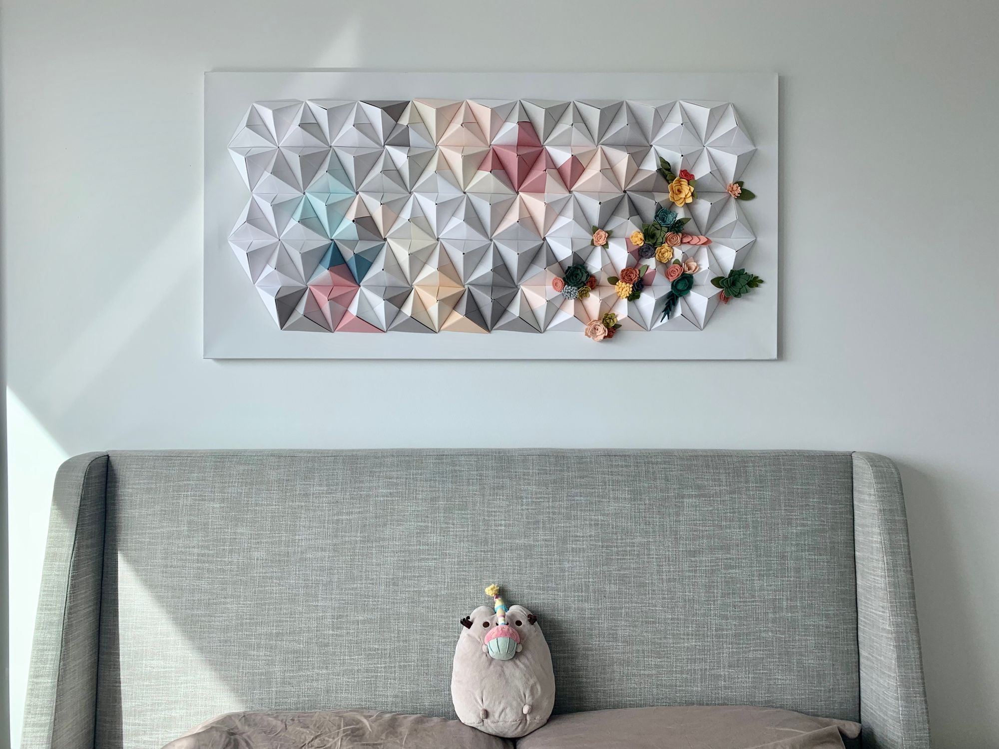 Serenity: An origami wall sculpture connected with Google Home